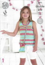 King Cole Cottonsoft Crush DK Knitting Pattern - 4771 Girl's Tops